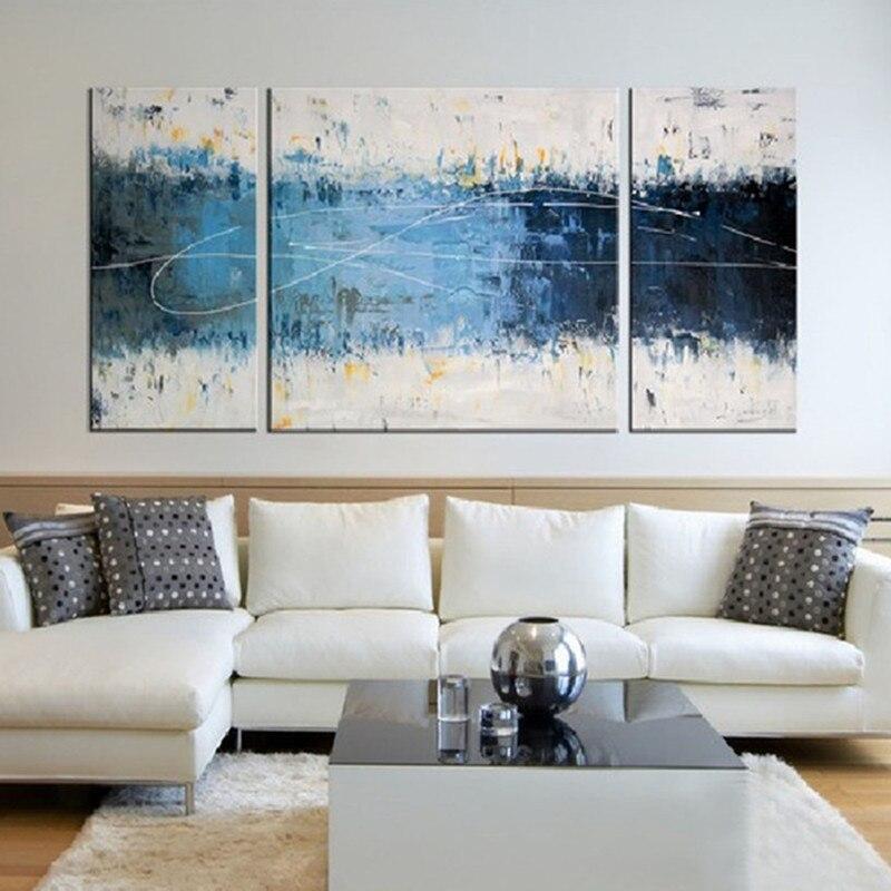 Peinture à l'huile abstraite moderne sur toile Graffiti ligne peintures acryliques pour salon décor à la maison papier peint 3 panneau Art photos