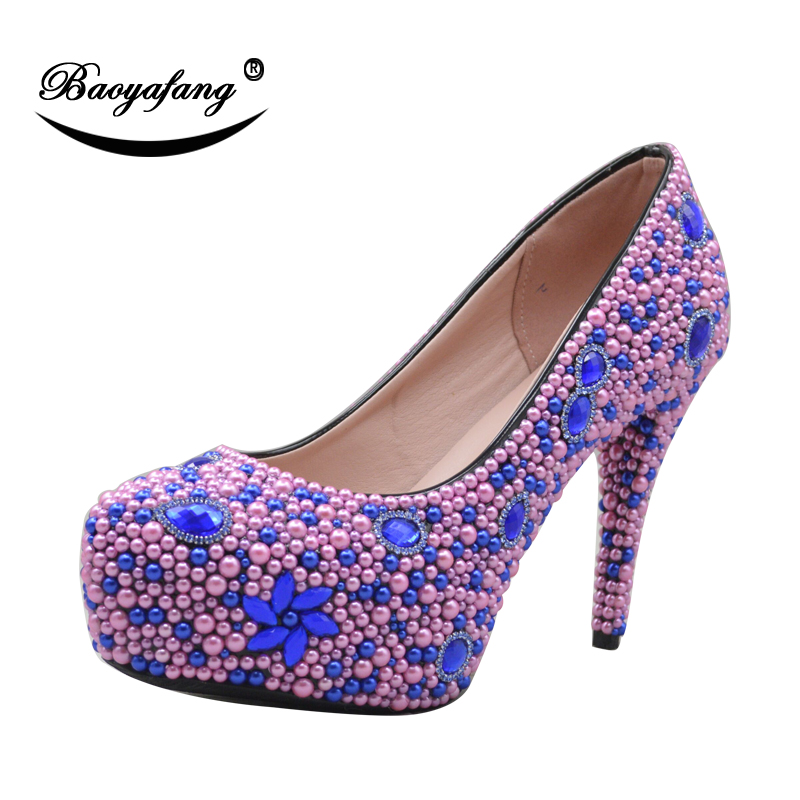 BaoYaFang New Women wedding shoes Bride luxury Peach Royal Blue pearl Ladies  Party shoes woman High platform shoes Big size - aliexpress.com - imall.com 909f71d2527e