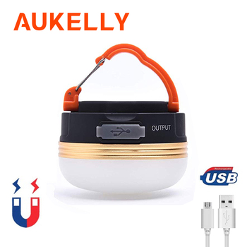 Aukelly Mini Portable Camping Light 3W LED USB Rechargeable Camping Lantern Outdoor Emergency Hiking Night Hanging Tent lamp