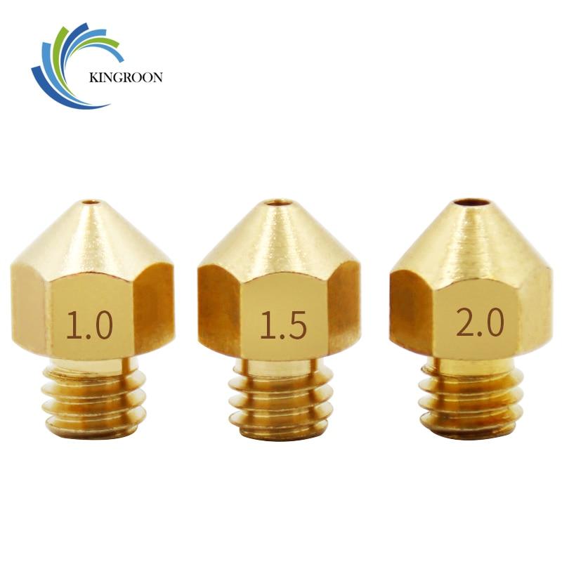 цена на Large Caliber Copper Nozzle 1.0mm 1.5mm 2.0mm Larger Diameter Part M6 For 1.75mm 3mm Filament Big Holes Brass 3D Printers Parts