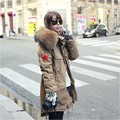 New Fashion Winter Coat Large Real Raccoon Fur Collar Coat Women's Plus Size Long Thick Overcoat Warm Outerwear Coat