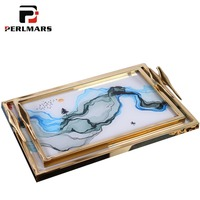 New Chinese Style Home Decor Dish Creative Landscape Pattern Metal Glass Tray Office Desktop Ornament Coffee Table Storage Plate