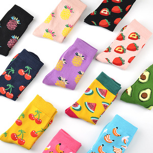 Cute Cartoon Fruit Print Avocado Banana Cherry Peach Girls Kawaii Socks meias Korean Harajuku Autumn Winter happy Socks(China)