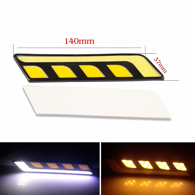 Newest White/Yellow Car Head Light For Cars COB LED Daytime Running Lights DRL+Fog Lights with Turn Signal For Mazda BMW E