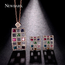 NEWBARK African Crystal Jewelry Sets For Women Multicolor Rhinestones Hollow 1 Pair Earrings 1pcs Necklace Brinco Gifts