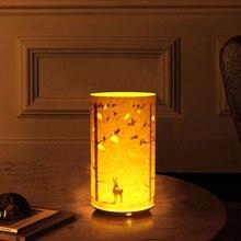 Vintage Creative mesilla de noche Nightlight grabado en papel infrarrojo Control remoto inducción lámpara DIY tallada Hollow Bed Lamp MC