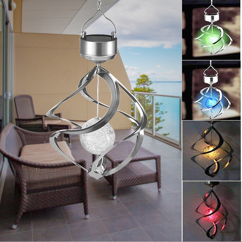 Solar Lights LED Outdoor Wind Chimes Color Changing Hanging Light Spiral Spinner Lamp Decoration for Garden Patio Balcony Indoor (22)