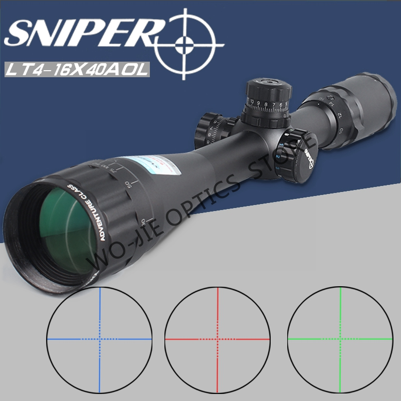 SNIPER 4-16X40 AOL Hunting Riflescopes Tactical Optical Sight Full Size Glass Etched Reticle RGB Illuminated Rifle Scope
