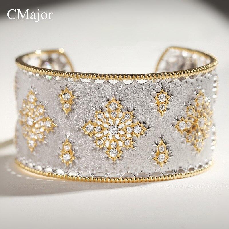 CMajor 925 Твердые серебряные ювелирные изделия цветок полые дворец Винтаж Дизайн Запад элегантный браслеты для женщин