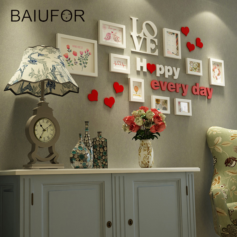 Hot Sale Baiufor Modern Style 9 Pcs Set Photo Frame Wall Wooden Love
