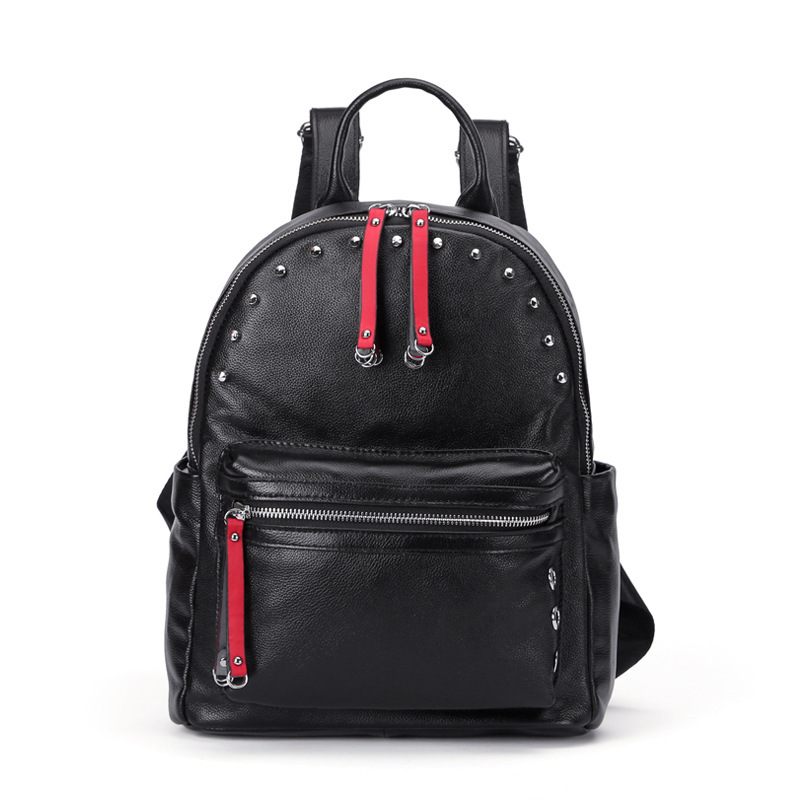 Fashion Famous Designer Women Backpack Genuine Cow Leather Rivet Female Day Pack Luxury Girl School Bag Natural Leather tinyffa small multifunction genuine leather backpack women back pack girl school bag famous brand designer black bagpack 2017