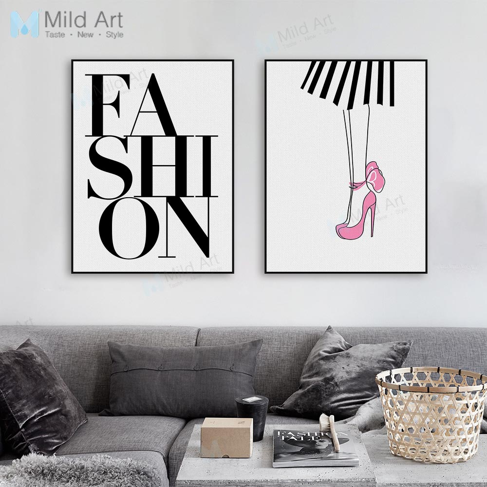 Modern Fashion Girl Typography Letter Poster Prints Big Minimalist Beauty Wall Picture Room Home Decor Canvas Paintings Custom