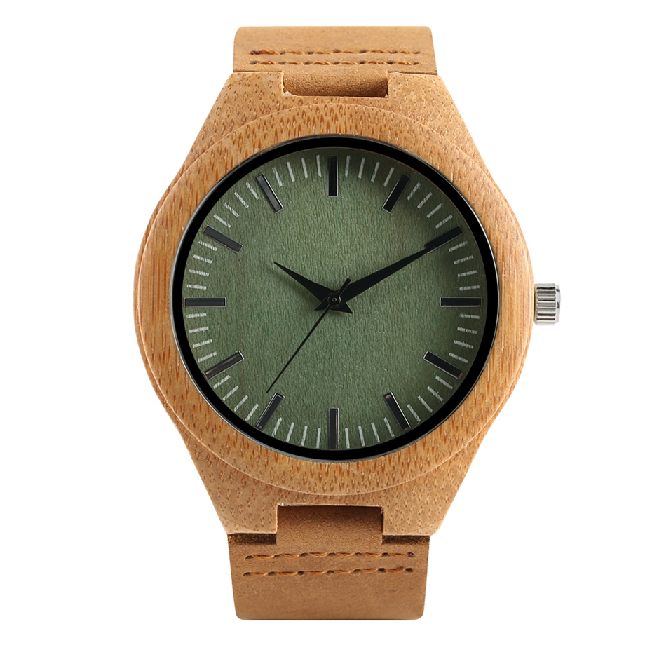 Fashion Bamboo Quartz Wristwatch Wood with Leather Strap Brand Green / Brown Dial Simple Design for Men and Women relogios ClockFashion Bamboo Quartz Wristwatch Wood with Leather Strap Brand Green / Brown Dial Simple Design for Men and Women relogios Clock