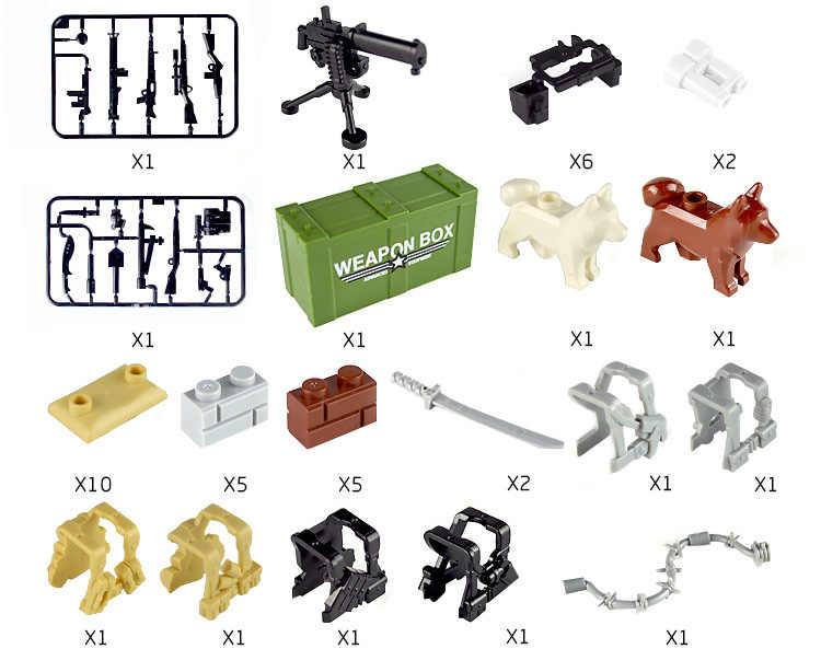 Legoing Militare Swat Squadra Pistole Armi Soldati WW2 Moderna Attrezzature Malta Figure di Costruzione Per Bambini Blocchi Giocattolo Compatibile Legoings