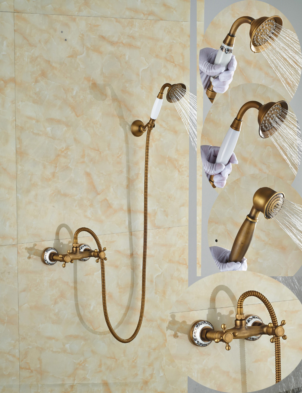 Wholesale And Retail Promotion Luxury Ceramic Style Antique Brass Bathroom Tub Faucet W/ Handheld Shower Sprayer Dual Handles wholesale and retail golden brass diamond ceramic base tooth brush cup holder tumbler holders with dual ceramic cups