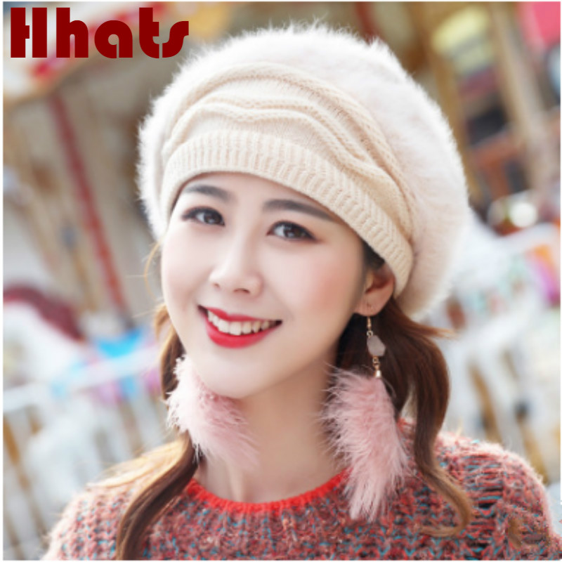 Rabbit Fur   Skullies     Beanie   For Women Solid Fleece Lining Winter Warm Hat Fashion Female Plus Velvet Knitted Hat Cap
