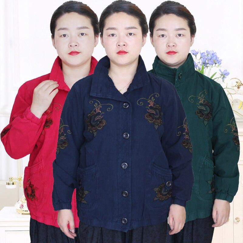Grande taille femmes d'âge moyen et plus confortable coton mode printemps et automne brodé lâche veste S16532