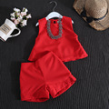 Baby Summer suit Girls A word of red vest + shorts Suit no necklace Children 2pcs set wholesale