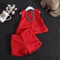 Terno de verão do bebê meninas a palavra de colete vermelho + short terno sem colar crianças 2 pcs set atacado