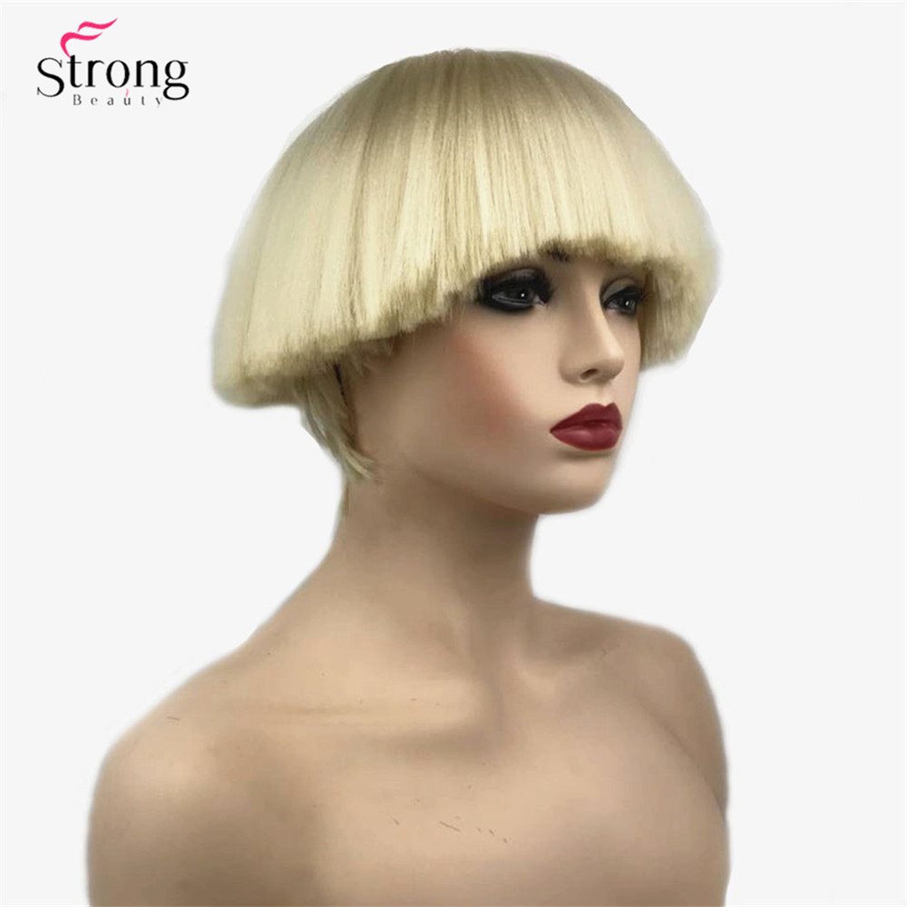 Strongbeauty Womens Synthetic Wig Short Hair Shroom Hairstyle Red