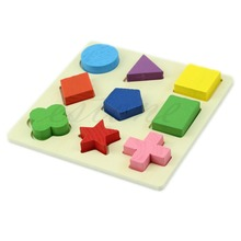 M89 Free Shipping Kids Baby Wooden Learning Geometry Educational Toy Puzzle Montessori Early