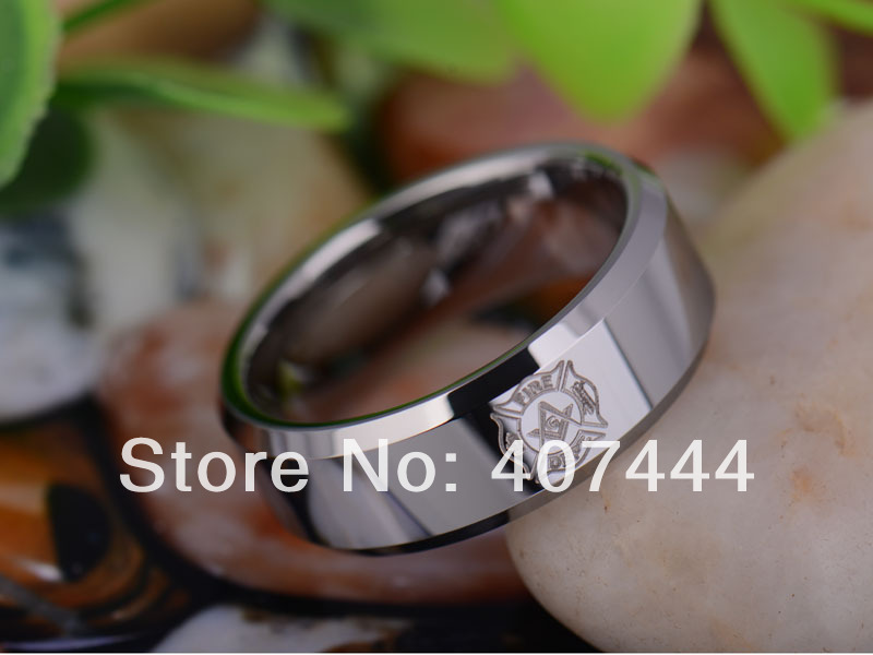 free shipping usa uk canada russia brazil hot sales 8mm polished silver beveled firefighter mason tungsten carbide wedding ring - Firefighter Wedding Rings