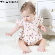 Waiwaibear Hot Sale Baby Infant Rompers For Girls Summer Print Jumpsuits Toddler Cotton  Clothing TN6