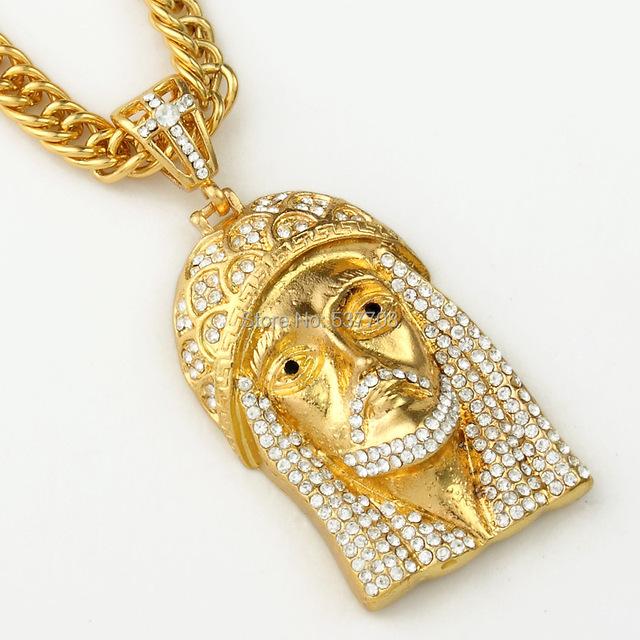 Hiphop Hombres de La Moda de Oro/Plateado Jesús Colgante Serpiente de Cristal Collar de La Joyería Larga Declaración Collares para Las Mujeres 2014