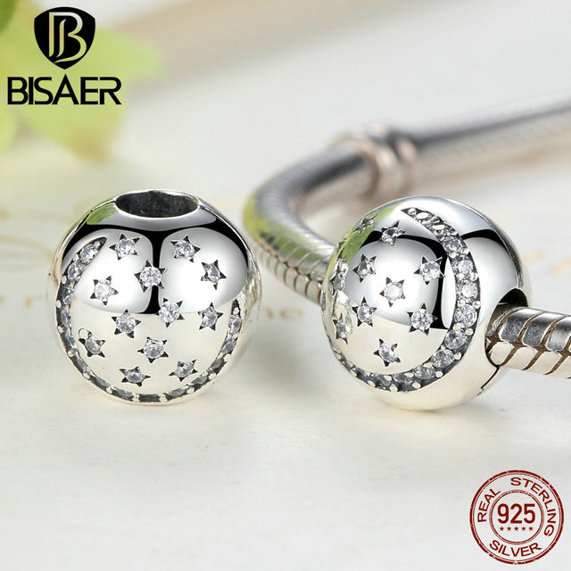 Real 925 Sterling Silver Twinkling Night Clip, Little Stars Charms Fit Original Pandora Bracelet DIY Fine Jewelry Accessories