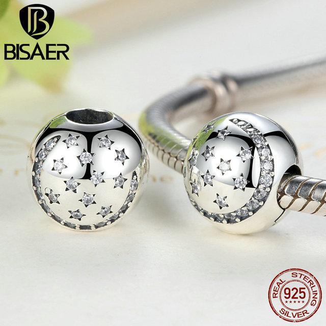 Real de Plata de ley 925 del Centelleo Noche Clip, pequeñas estrellas encantos fit pandora original pulsera de diy accesorios de joyería fina