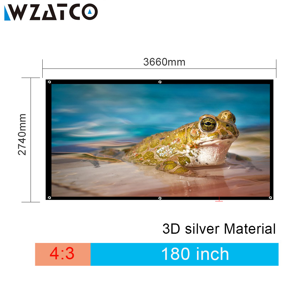 WZATCO 180 inch 4:3 Portable Foldable HD 3D Silver Projection Fabric Screen Without Frame Screen Projection Film Free Shipping цена