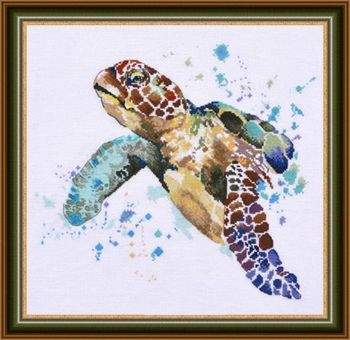 14/16/18/27/28 Gold Collection Chic Counted Cross Stitch Kit The Greatness of Longevity Sea Turtle image