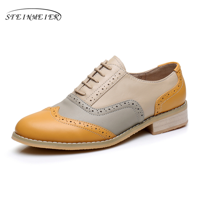 women genuine leather oxford shoes woman flats brogues winter vintage handmade laces loafers casual sneaker flat shoes for women 2