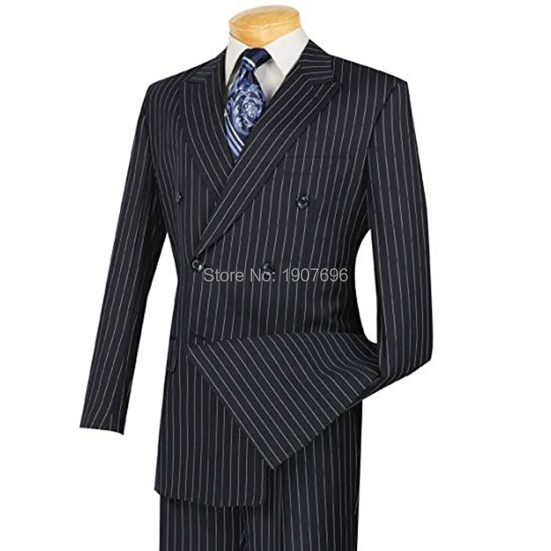 Pinstriped Double Breasted Mens Suits For Wedding Groom Tuxedos Two Piece Jacket Pants Peaked Lapel Latest Style