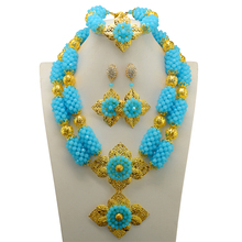 2017 Lake Blue African Jewelry Set Nigerian Wedding African Beads Jewelry Set Crystal Gold-color Ball Jewelry Set Free Shipping