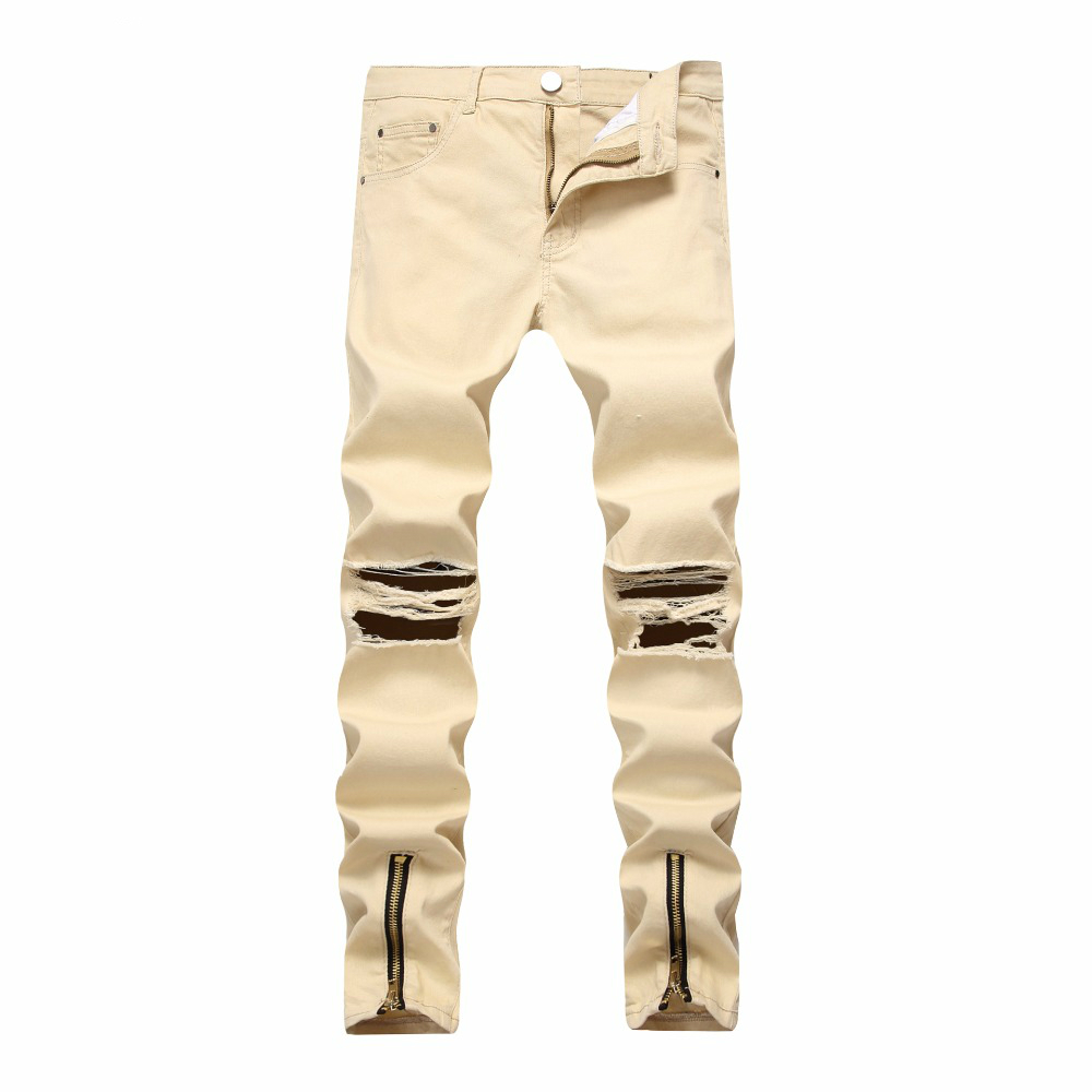SZYMGS NEW Fashion Elastic Ripped Jeans Men Skinny Jeans Mens Distressed Jean Pants Fake Zippers Hole Casual Pencil Pants