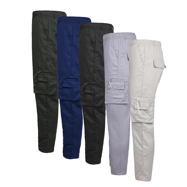 HEFLASHOR 2019 New Summer Autumn Casual Thin Pants Multi Pocket Solid Trousers Oversize Loose Pants Elastic Waist Pants 3XL