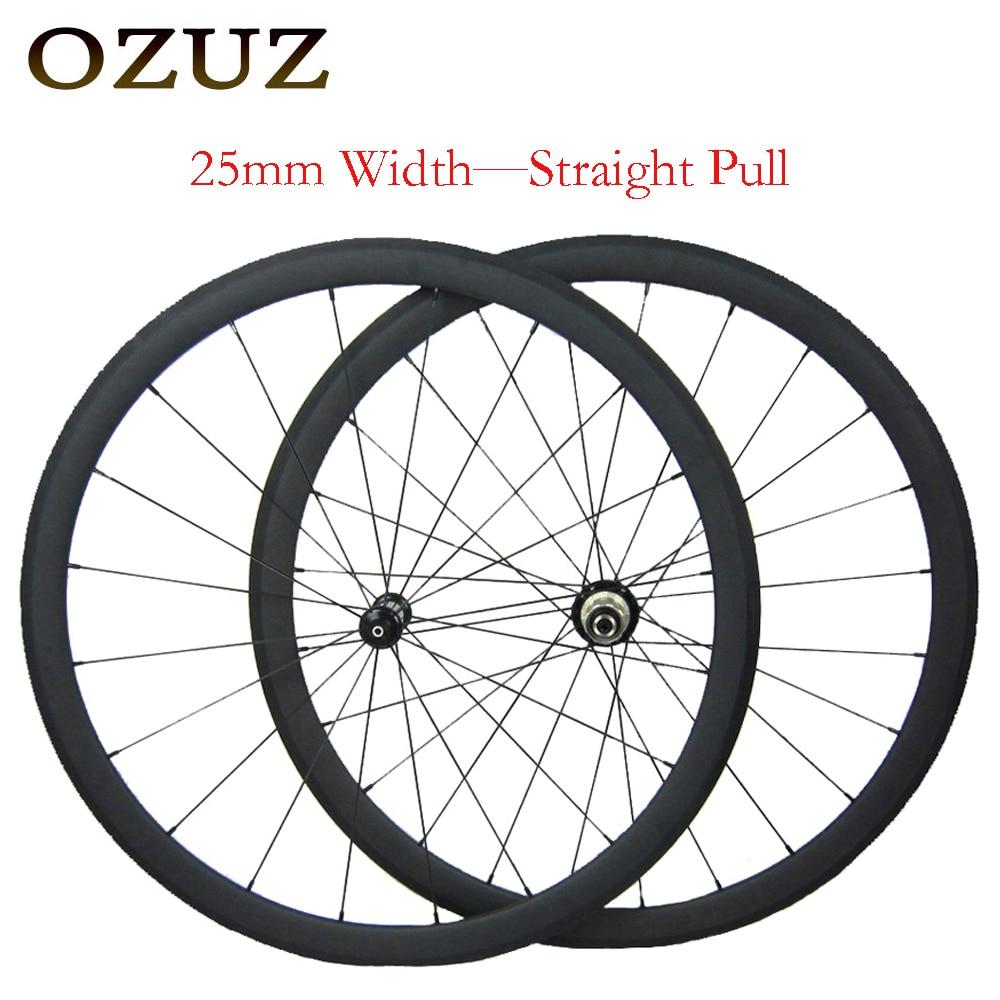OZUZ 38mm straight pull 25mm width carbon clincher wheelset v brake bicycle 3k matte 700c carbon fiber wheels Free Custom цена