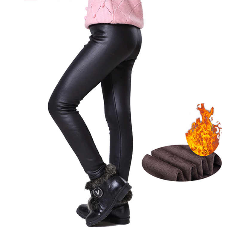 9ebbe9f69 Warm Winter Girls Leggings Faux Leather PU Skinny Thick Velvet Kids Pants  Trousers for Girl Leggins