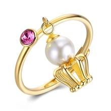 S925 Women Crystal Rings Fine Jewelry Charm 925 Sterling Silver Crown Wedding Rings Golden Lady Fresh Water Pearl Finger Wears