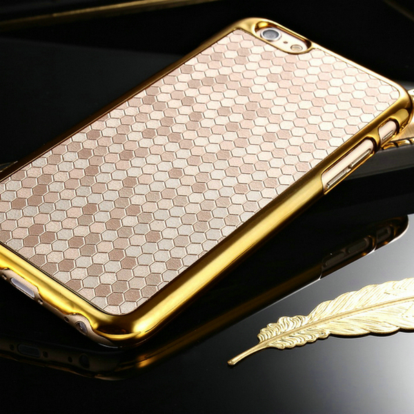 newest hexagon pattern pu leather case for iphone 6 4 7 inch