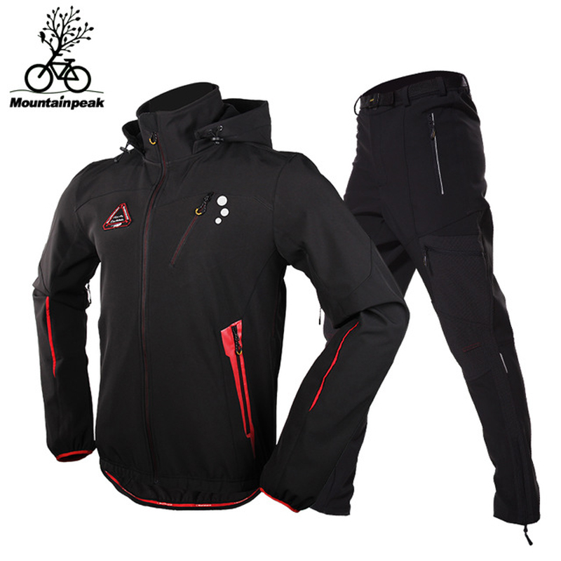 Men Camping Hiking Jacket Pants 1 Set Outdoor Waterproof Windproof With Thicken Fleece Climbing Jackets Pants