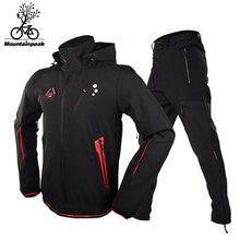 PSG Hommes Camping Randonnée Veste Pantalon 1 Set Extérieure Imperméable Coupe-Vent Avec Épaissir Polaire Escalade Vestes et Pantalons Taille S-3XL