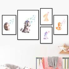 Rabbit Fox Raccoon blowing bubbles Wall Art Canvas Painting Nordic Posters And Prints Decoration Pictures Baby Kids Room Decor