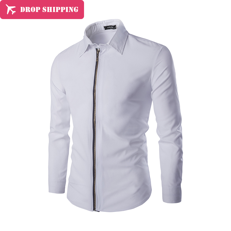 ee62d6295ddae5 ᗜ LjഃCasual hommes robe de chemises zipper slim fit mode 2017 ...