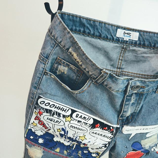 2020 Hot New Arrival Print Light Robin Jean Shorts Men Ulzzang Summer Pattern Knee Length Zipper Fly Mid Weight Jeans Dsq Mens 3