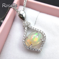 Rosalie,925 sterling silver pendant necklace with natural ethiopian opal oval 7*9mm fine jewelry classic design for women gift