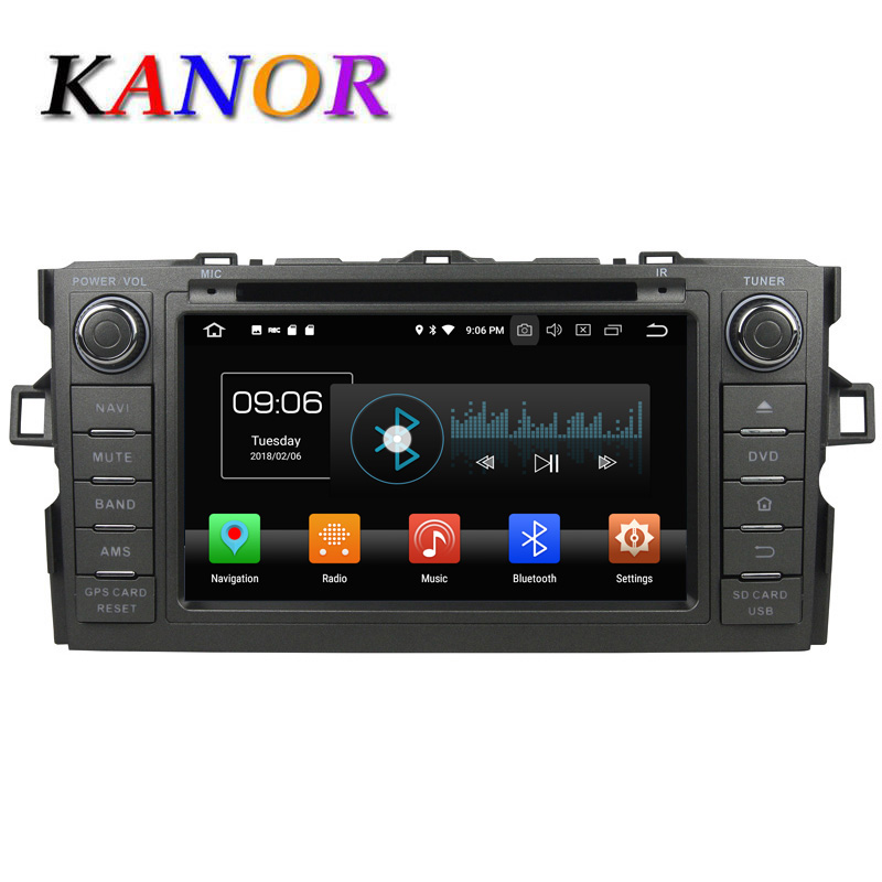 KANOR 4+32G Octa Core Android 8.0 2din car radio For Toyota Auris With GPS Navigation DVD Bluetooth SWC Audio Car Multimedia цена