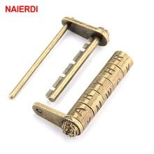 NAIERDI 4 Type Zinc Alloy Chinese Vintage Antique Bronze Retro Combination Lock Password Lock Jewelry Box Padlock Handware