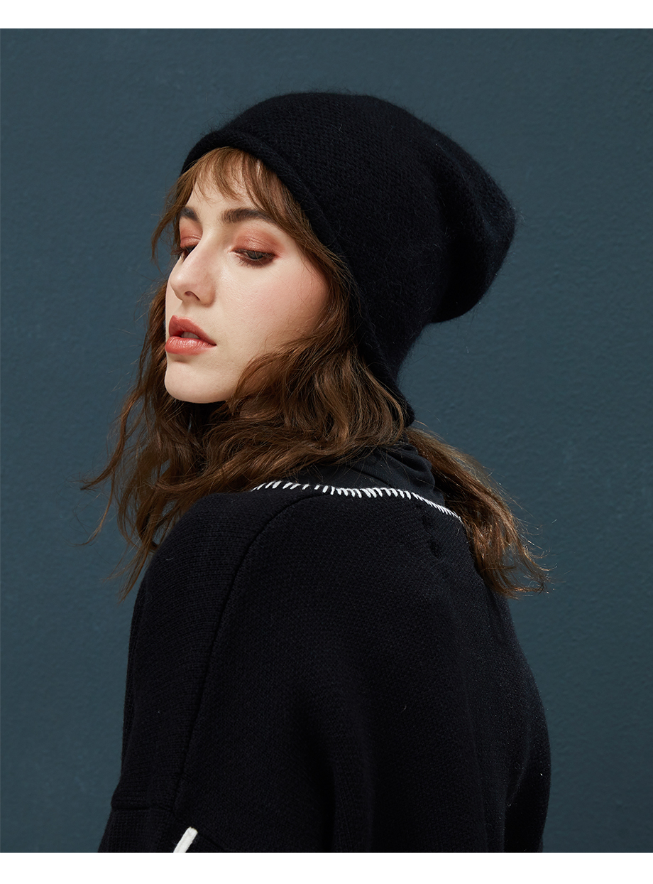 2018 New Women Baggy Bonnet Beanies Female Rabbit Hair Wool Knitted Winter Hats Soft Skiing Slouchy Beanie With Back Opening (15)